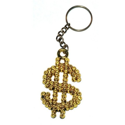 Gold Dollar $ Sign Keyring