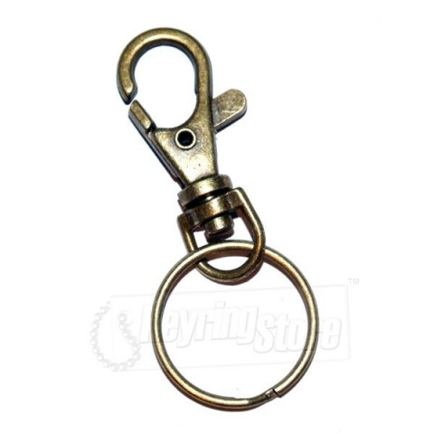 Mini Belt Clip Metal Keyring - Antique Style
