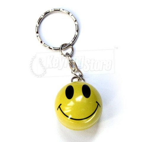 Smiley face yellow keyring