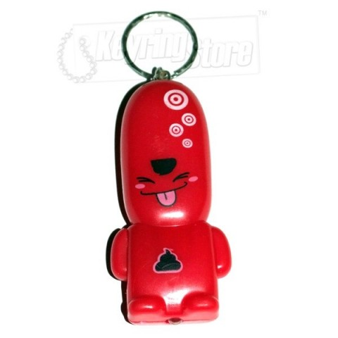 Red LED Torch People Keyring