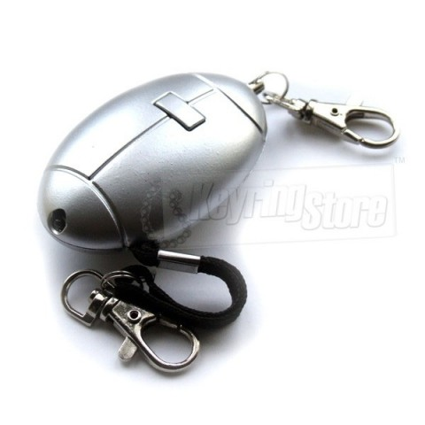 Personal Alarm Keyring - Silver - with torch