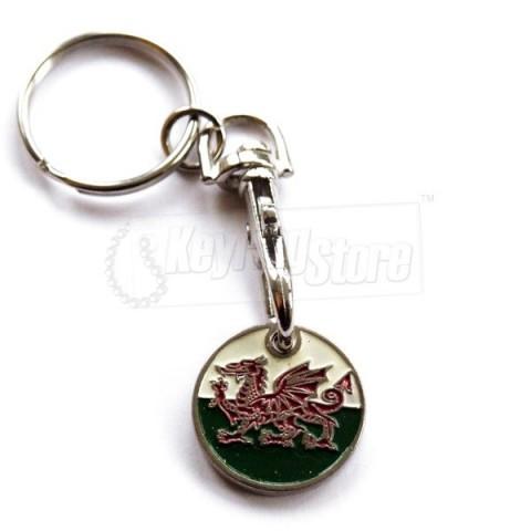 Trolley Coin Keyring - Welsh Dragon Flag