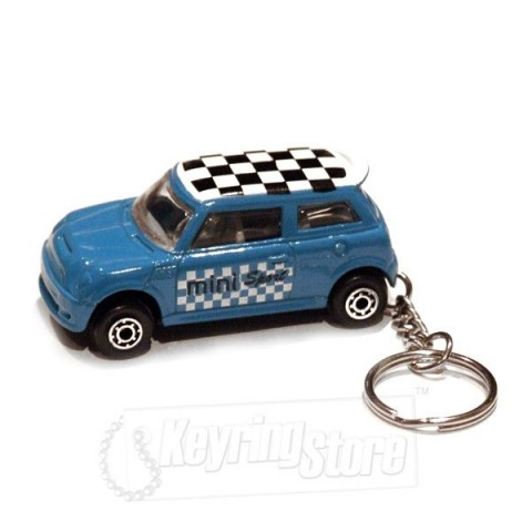 Car Keyring - Blue - Chequered Roof