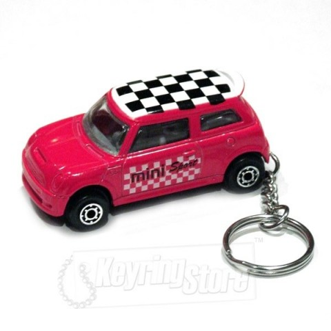 Car Keyring - Red - Chequered Roof