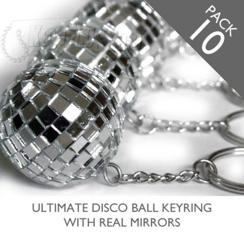 Mirror Glitter Disco ball keyrings - pack 10