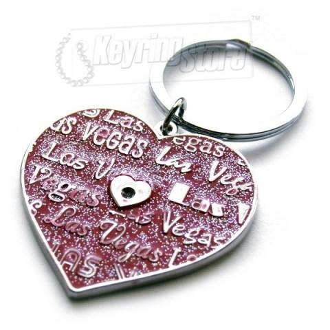 Las Vegas Heart Diamanté Keyring