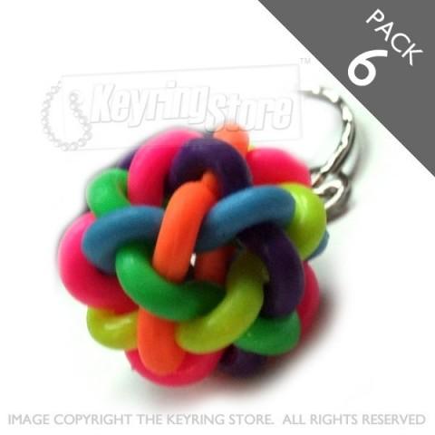 Multicolour spaghetti keyring - PACK 6