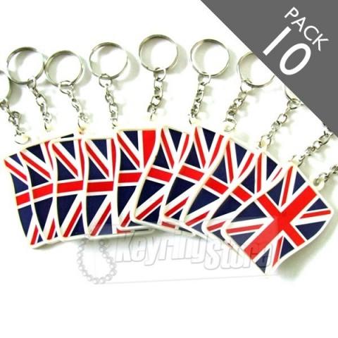 U Jack British Flag Keyrings - Pack 10