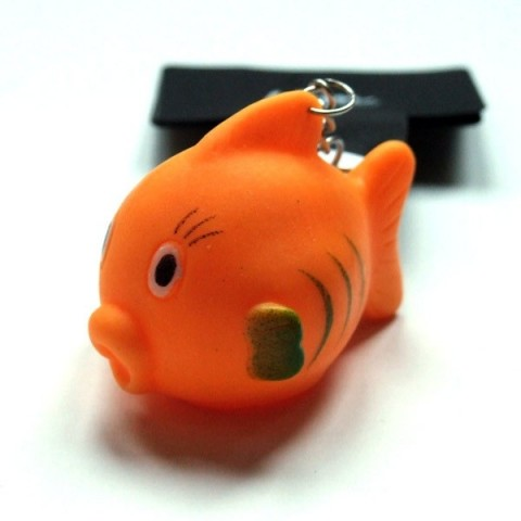 Orange squeaky fish keyring