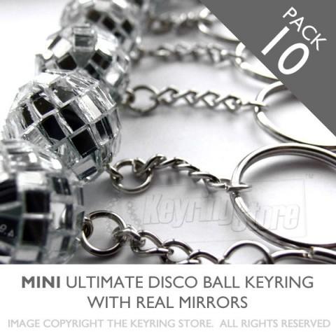 MINI Mirror Glitter Disco ball keyrings - pack 10