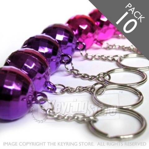 Premium Pink 'n' Purple Disco ball Keyrings - pack 10