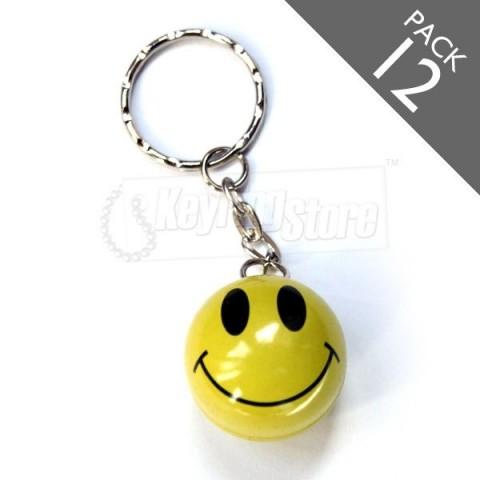 Smiley Face Keyrings - Pack 12 - BULK - yellow