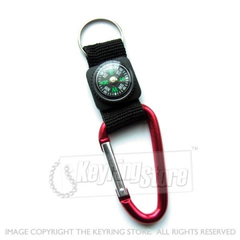 Carabiner Compass Keyring - various colours