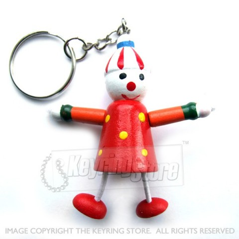 Wooden Clown (red) Keyring