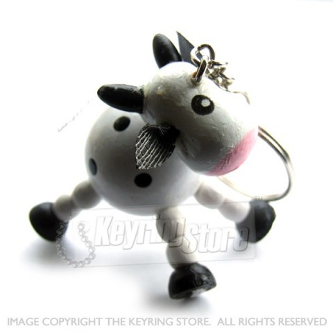 Wooden Cow Keyring
