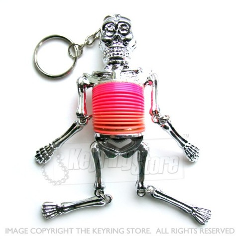 Skeleton Silver Springy Keyring