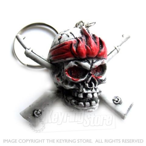 Skull & Cross Guns Keyring