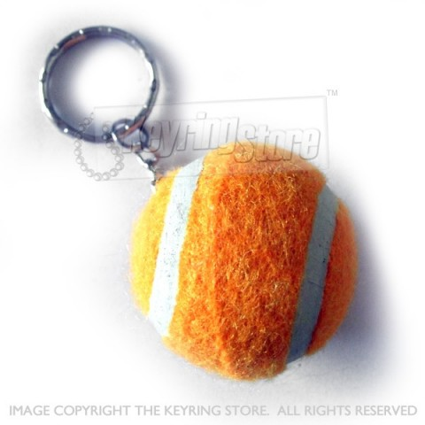 Orange Tennis Ball Keyring