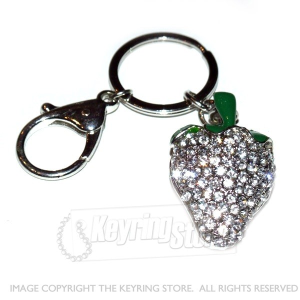 Strawberry Diamante Crystal Keyring