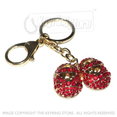 Child Shoes Red Diamante Crystal Keyring