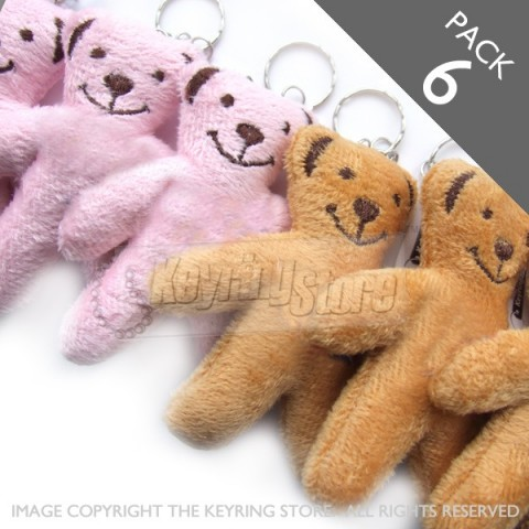 Brown & Pink Teddy Plush Keyring - PACK 6