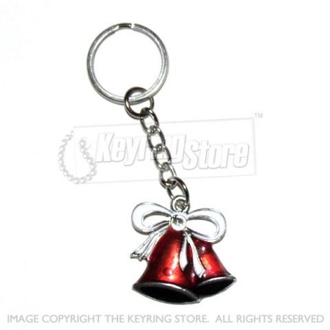 Christmas Bells Enamel Keyring (red)