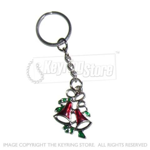 Christmas Mini Bells Enamel Keyring (red)