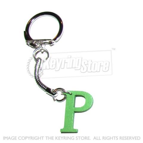 Letter P Wooden Keyring