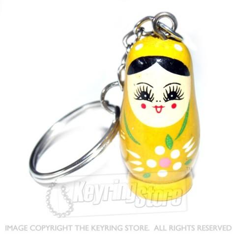 Russian Doll Keyring (yellow)