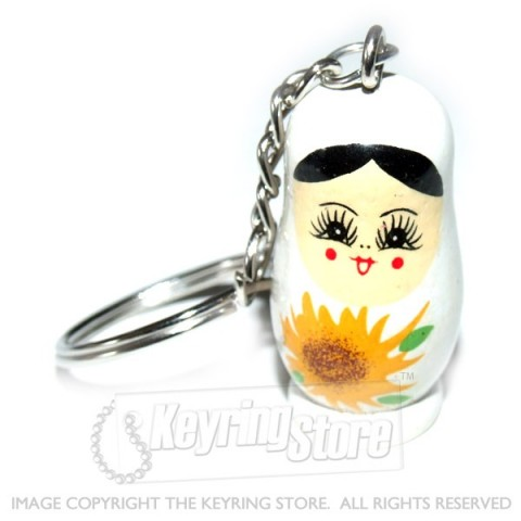 Russian Doll Keyring (white)