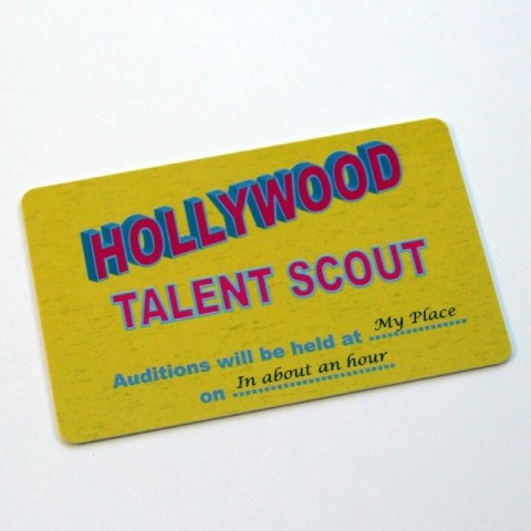 Hollywood Talent Scout spoof membership card