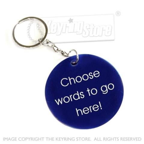 Personalised Plastic Tag Keyring (blue)