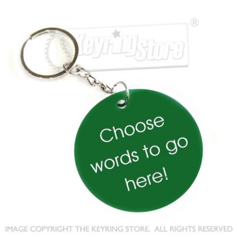 Personalised Plastic Tag Keyring (green)