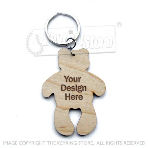 Personalised Teddy Wooden Keyring