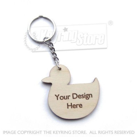 Personalised Duck Wooden Keyring