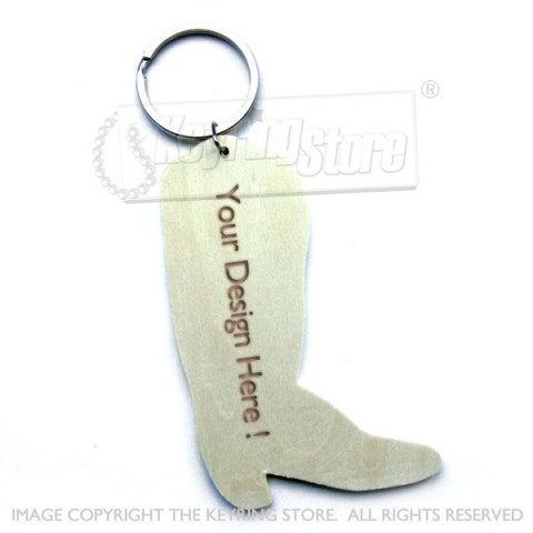 Personalised Western Boot Wooden Keyring