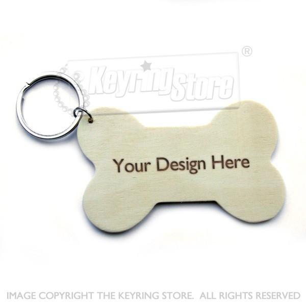 Personalised Dog Bone Wooden Keyring