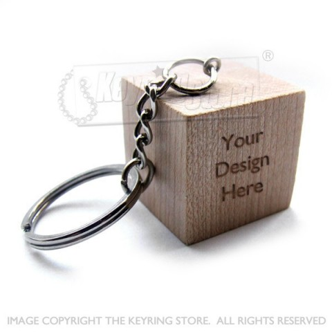 Personalised Cube Wooden Keyring