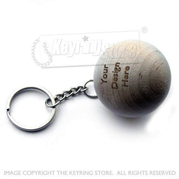 Personalised Wooden Ball Keyring