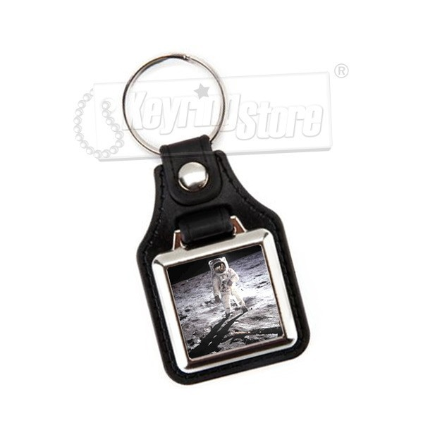 Personalised Square Faux Leather Keyring