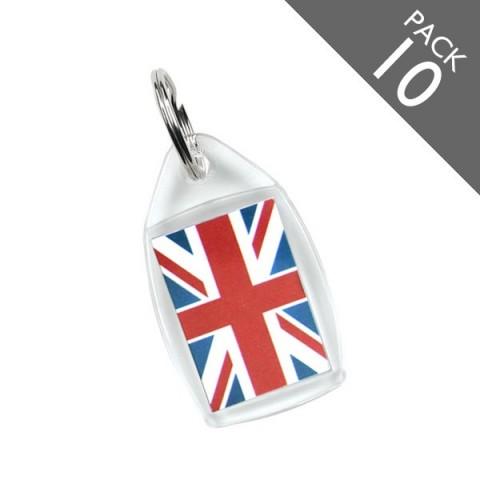 Union Jack Print Keyrings - PACK 10
