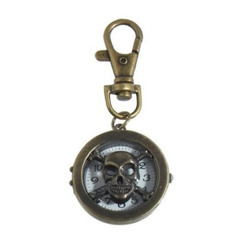 Skull & Cross Bones Clock keyring