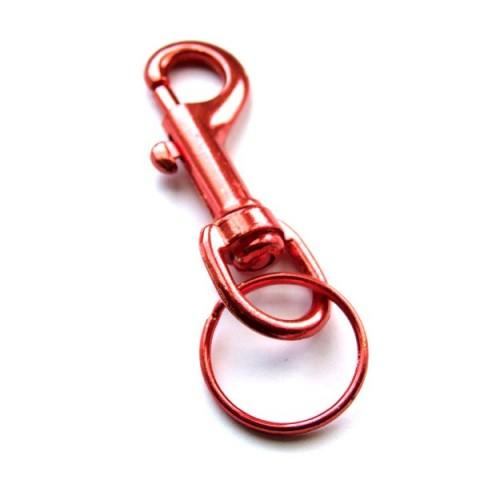 Metal Belt Clip Keyring - Red