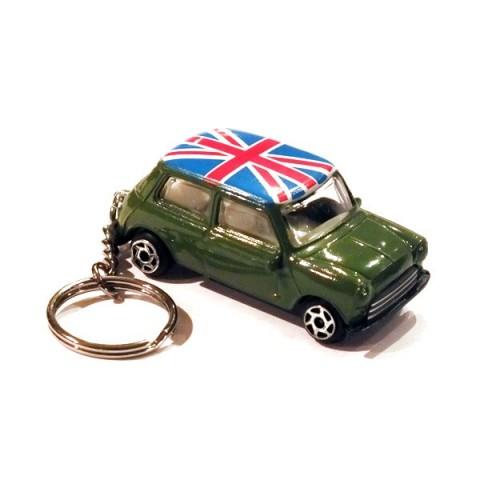 Austin Mini Car Keyring - Green - Union Jack Roof