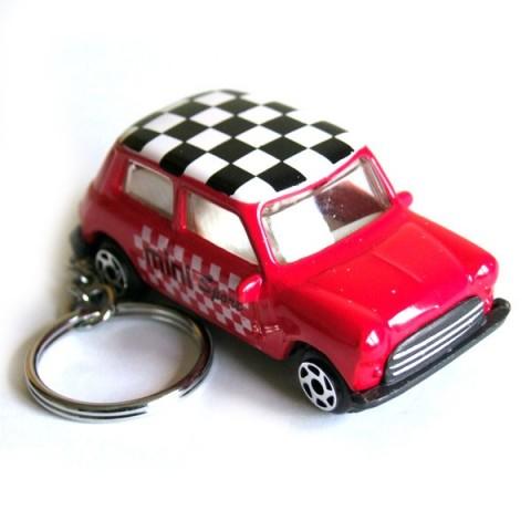 Austin Mini Car Keyring - Red - Checkered