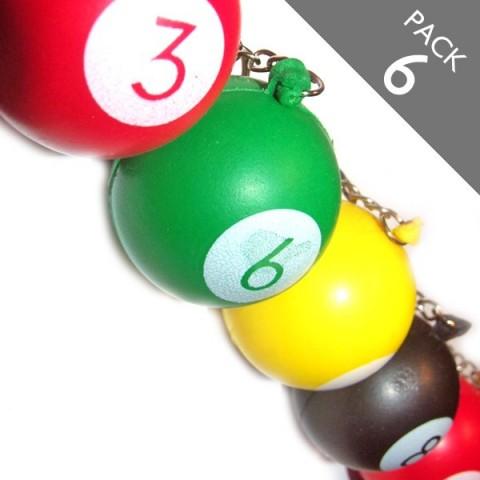 Pool Ball Keyrings (multicolour) - PACK 6