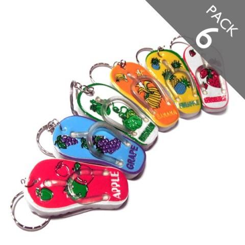 Flip flop fruits keyrings - Pack 6