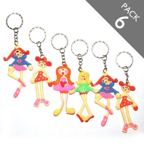 Dancing Girls Keyrings - Pack of 6