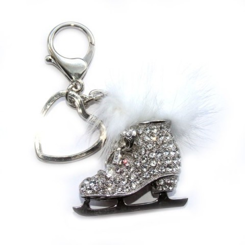 Ice Skate Diamante Keyring