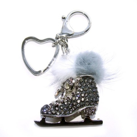 Ice Skate Black Diamante Keyring
